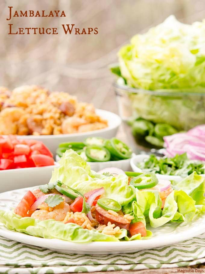Jambalaya Lettuce Wraps are a fun and tasty way to enjoy Jambalaya. Build your own with assorted vegetable and herb toppings.