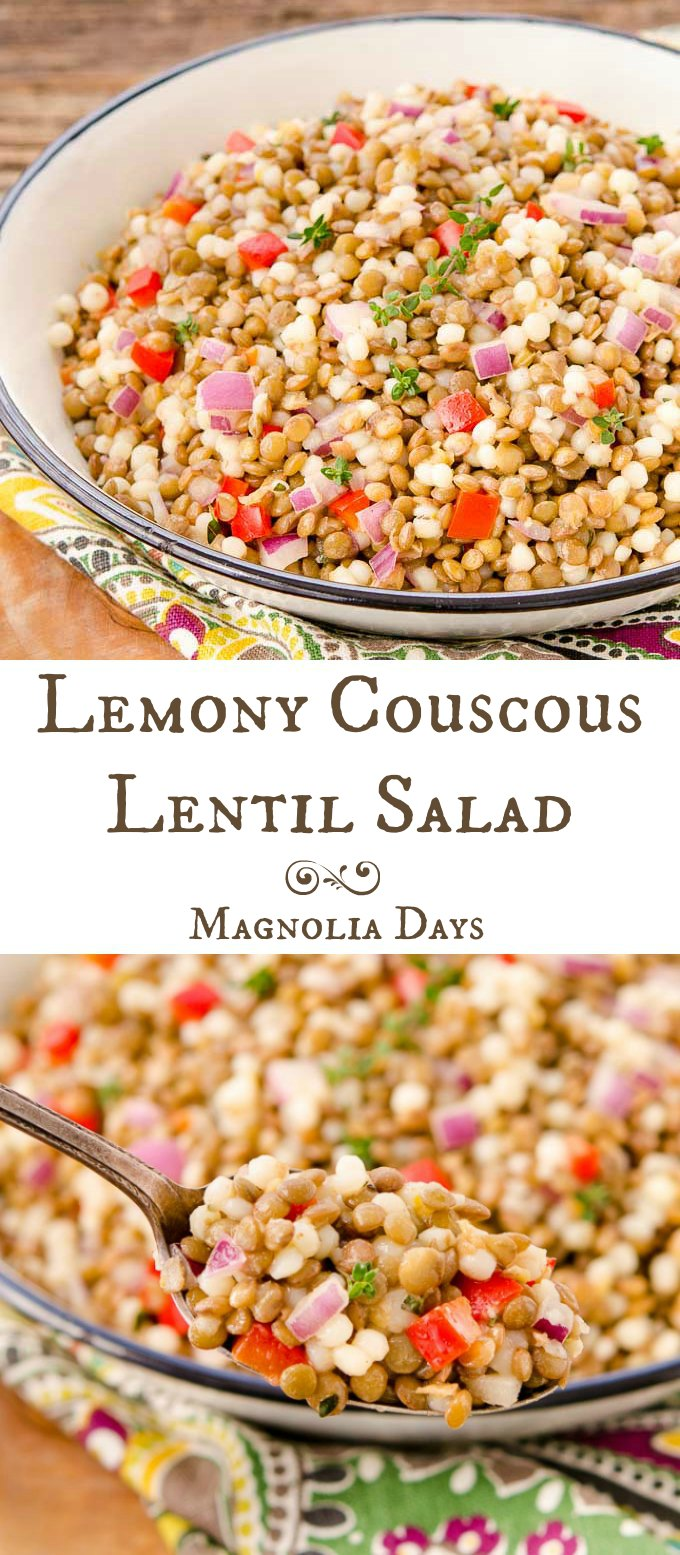 Lemony Couscous Lentil Salad has bell pepper, red onion, fresh thyme, and tossed with tangy lemon dressing. It goes splendidly with ham.