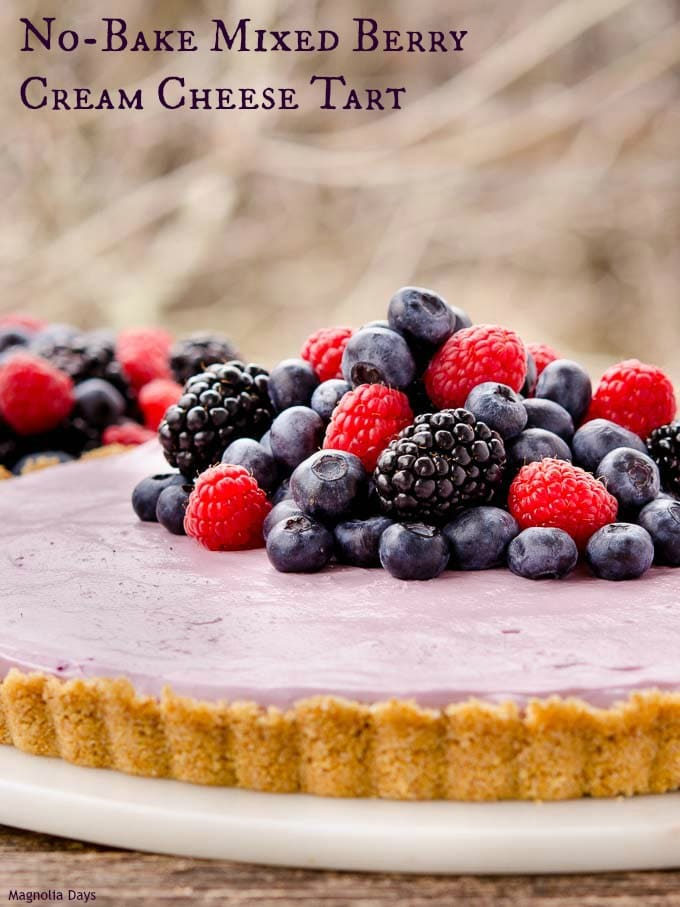 No-Bake Mixed Berry Cream Cheese Tart is a lusciously creamy dessert flavored with fresh berries. Make it your next celebration.
