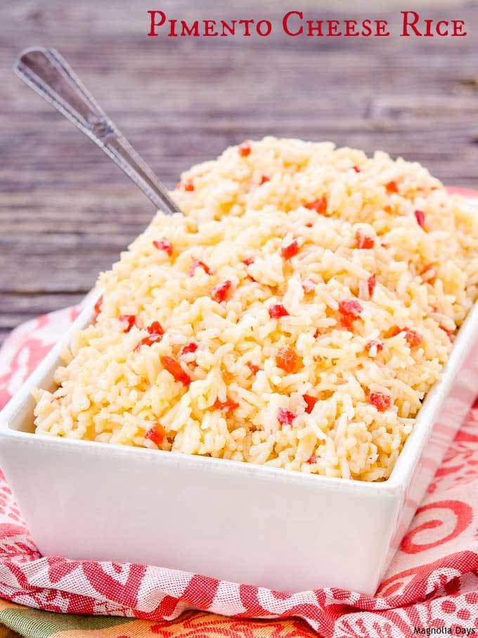 Pimento Cheese Rice is a creamy, cheesy side dish with flavors of a classic southern spread. Serve it with ham, pork, or chicken.