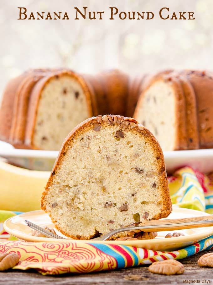 Banana Nut Pound Cake is moist with the texture of classic pound cake and flavor of banana bread. It's a delightful dessert for any occasion.