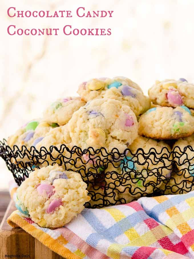 Chocolate Candy Coconut Cookies are loaded with sweet coconut and candy coated chocolates. Use seasonal candy colors to make them special.