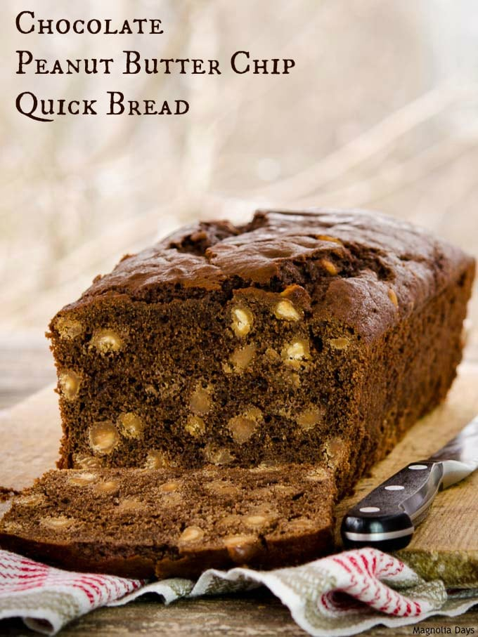 This Chocolate Peanut Butter Chip Quick Bread is a delightful treat or snack for kids of all ages. Serve it and watch the smiles appear!