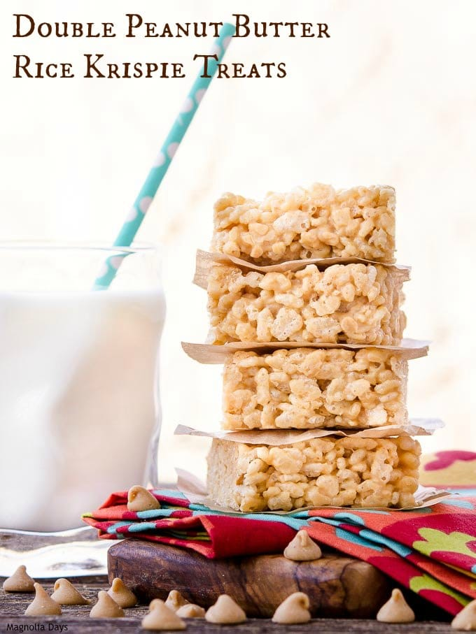 Double Peanut Butter Rice Krispie Treats are doubly delicious and irresistible snack. Only 5 ingredients needed to make this easy recipe.