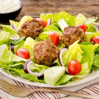 Greek Meatball Salad for #SundaySupper