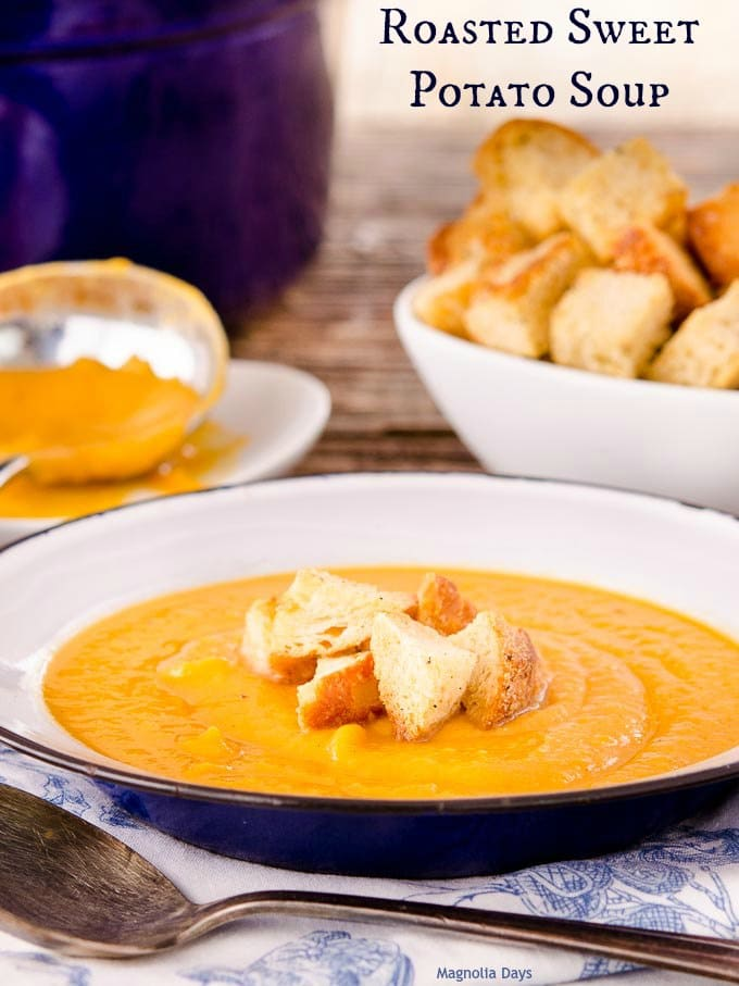 Roasted Sweet Potato Soup is delightfully flavored with onion, pear, cinnamon, and ginger. Top with croutons or serve with a grilled cheese sandwich.