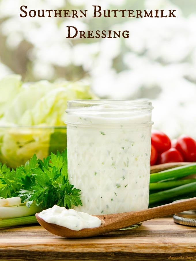 Southern Buttermilk Dressing is easy to make, creamy, and flavored with garlic and green onion. Serve it as a salad dressing or dip with vegetables.