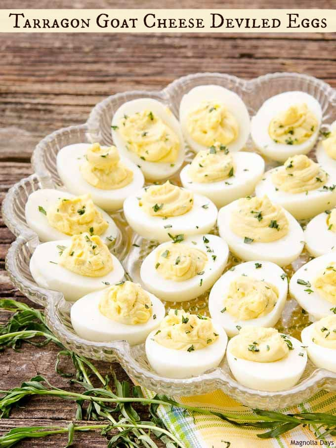 Tarragon Goat Cheese Deviled Eggs are creamy with fresh herb brightness. It's an elegant and delightful twist to a classic recipe.