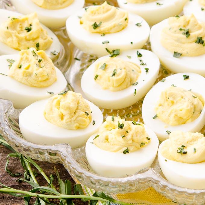 Tarragon Goat Cheese Deviled Eggs | Magnolia Days