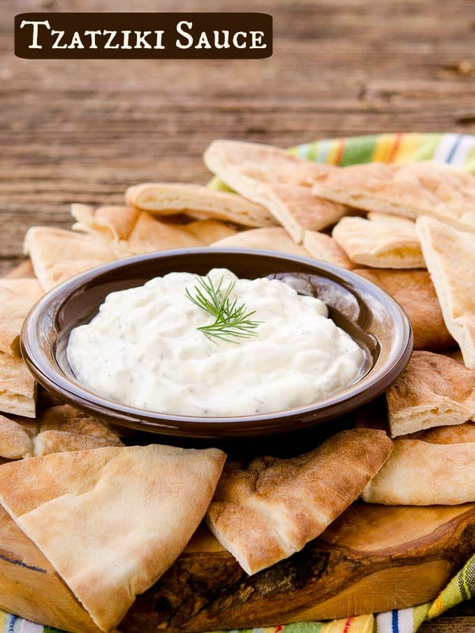Tzatziki is a Greek yogurt cucumber sauce flavored with dill, lemon, and garlic. Serve it as a dip or dressing with pita, grilled meat, or salad.