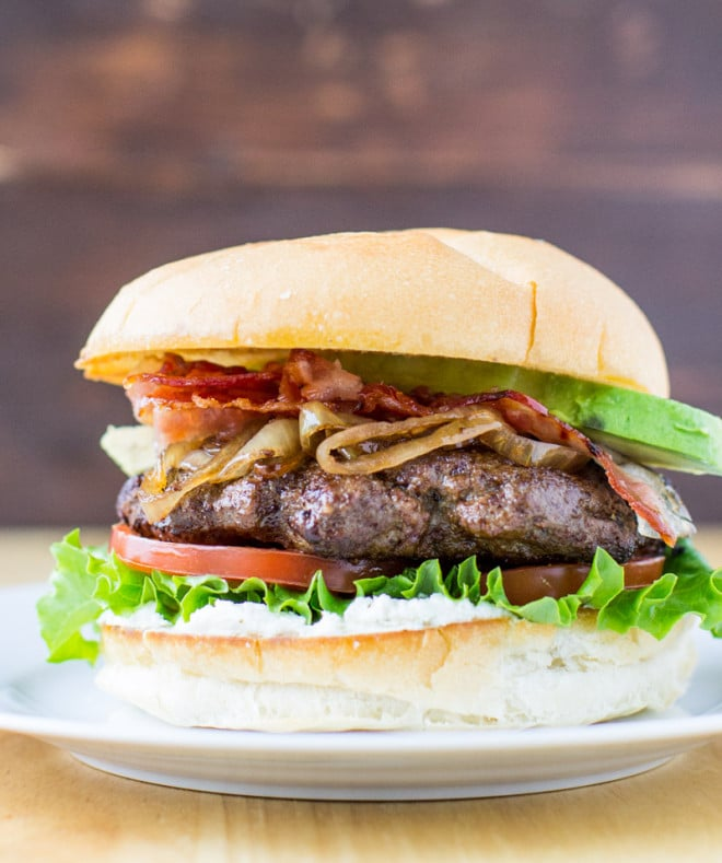 Avocado BLT Burger with Caramelized Balsamic Onions by Culinary Hill