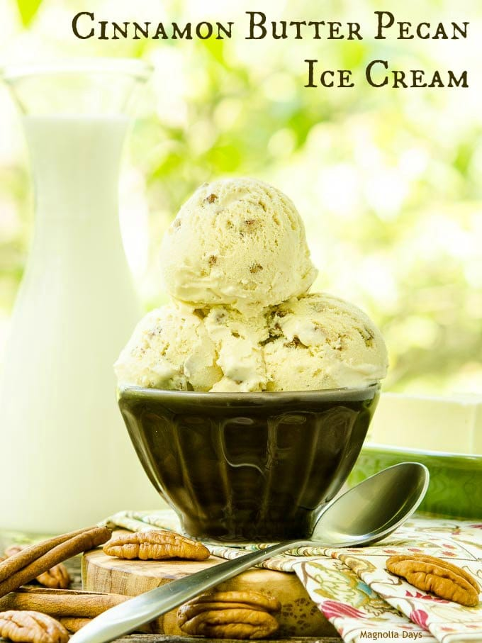 Cinnamon Butter Pecan Ice Cream is a delightful twist to a classic. A touch of spice really is nice in this nutty and creamy frozen treat.