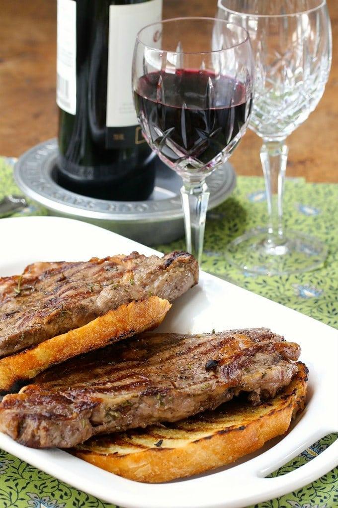 Garlicky Rib Eye Steak with Garlic Bruschetta by Karen's Kitchen Stories
