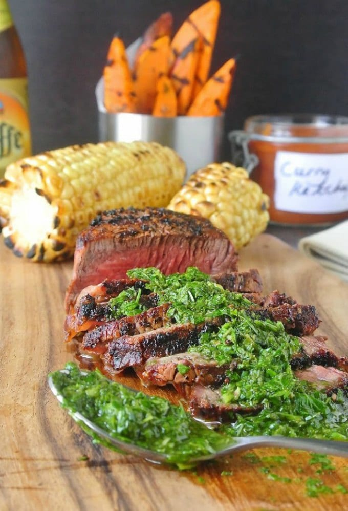 Grilled Filet Mignon with Mint and and Parsley by Culinary Ginger