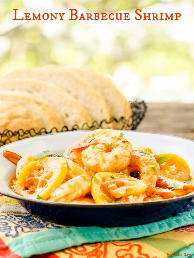 Lemony Barbecue Shrimp is an easy to prepare meal for two. The buttery BBQ sauce has a kick of heat brightened up with citrus.