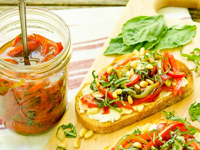 Marinated Basil and Garlic Peppers on Goat Cheese Tartines | Magnolia Days