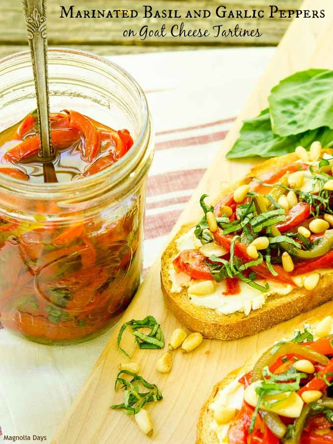 Marinated Basil and Garlic Peppers on Goat Cheese Tartines are wonderful open-face sandwiches. They are a great meatless meal for any night of the week.