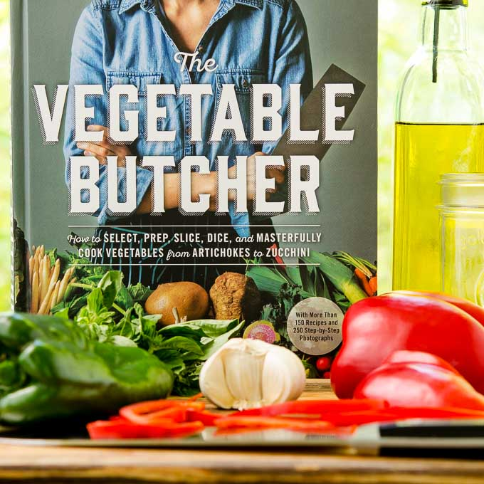 The Vegetable Butcher Cookbook plus ingredients for Marinated Basil and Garlic Peppers | Magnolia Days