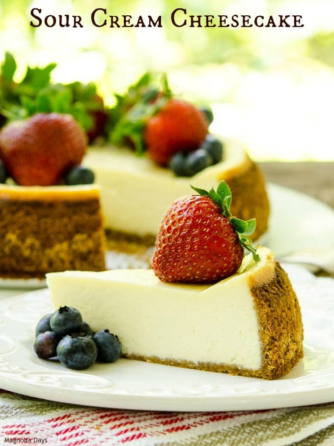 Sour Cream Cheesecake is a silky smooth, rich, creamy, decadent, and classic dessert. Serve it plain, with fruit, or your favorite topping.