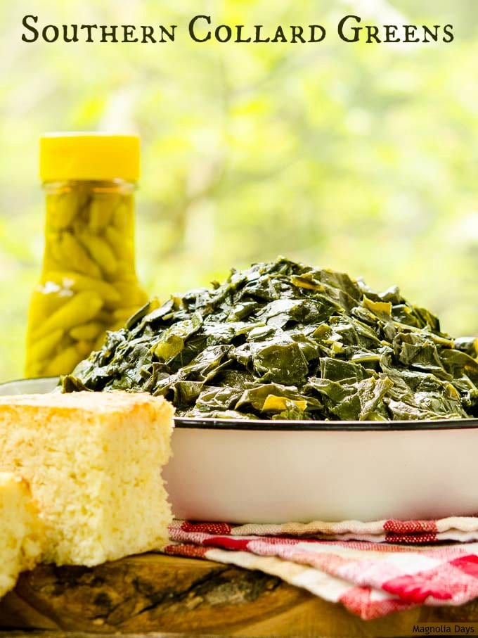 Southern Collard Greens are slow-simmered with smoked ham hocks until tender. It's a classic side dish served with hot pepper sauce and cornbread.