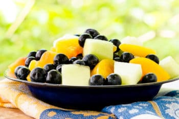 Summer Fruit Salad with Ginger-Lime Dressing for #BlueberryToss #FWCon