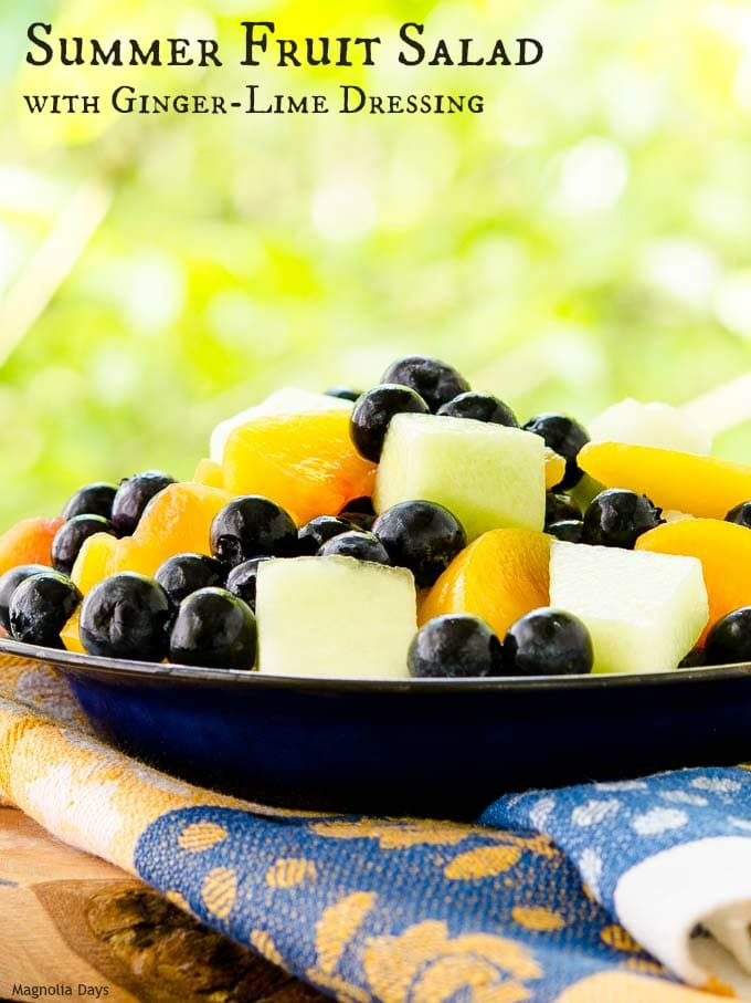 Summer Fruit Salad is a delightful combination of blueberries, melon, and peaches tossed with ginger-lime dressing. Make it to deliciously celebrate the season.