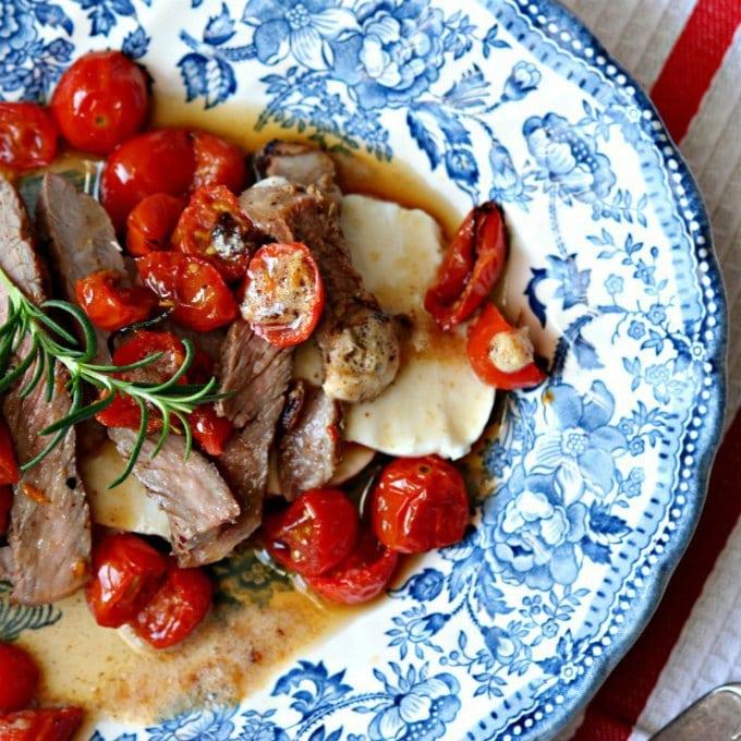 Warm Steak Tomato and Mozzarella Salad by Family Foodie