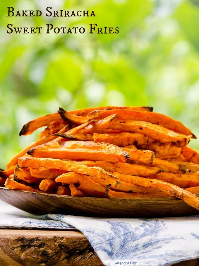 Baked Sriracha Sweet Potato Fries have tasty sweet/hot combination. They are fries for spicy food fanatics and anyone wanting to kick up the ordinary.