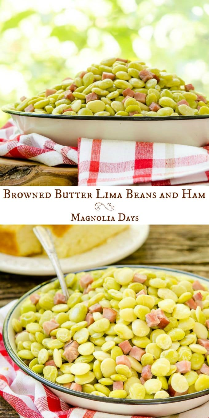Browned Butter Lima Beans and Ham is an easy to make classic southern dish served as a side or entree. It's great for family gatherings or potlucks.