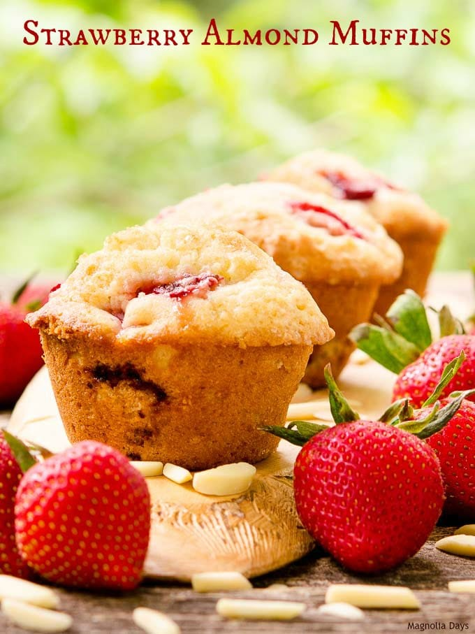 Strawberry Almond Muffins are packed with sweet berries and have a light nutty flavor. They are delightful for breakfast, brunch, or an afternoon snack.