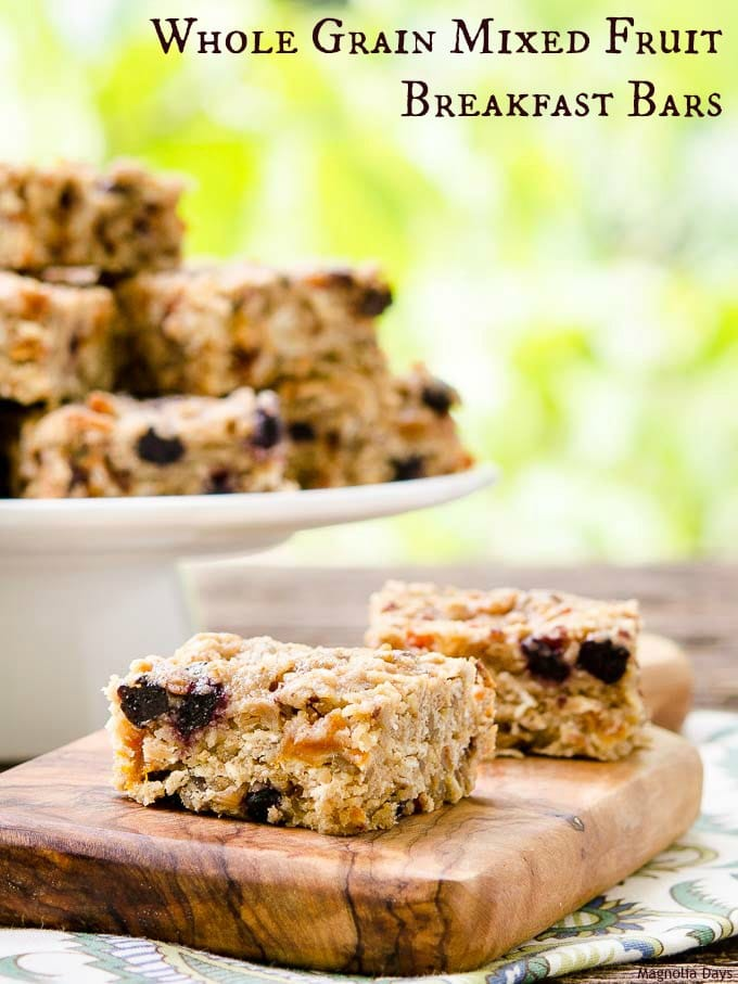 Chewy Whole Grain Mixed Fruit Breakfast Bars are loaded with protein and whole grains. Wrap up and take on the go for an energy-rich breakfast or snack.