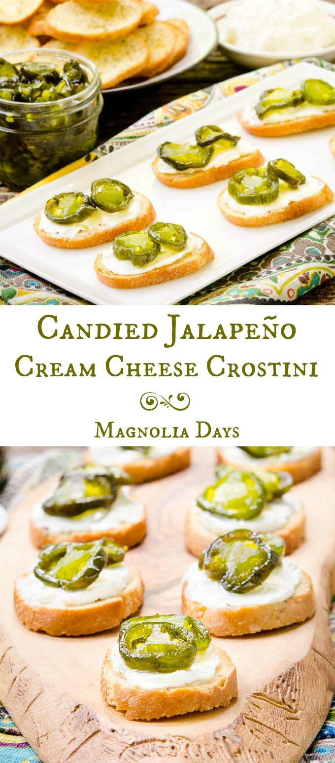 Candied Jalapeño Cream Cheese Crostini is a fantastic appetizer for your next party. It's crunchy, creamy, hot, sweet, and totally tasty.