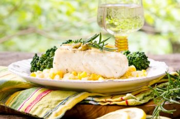 Grilled Halibut with White Wine Sauce