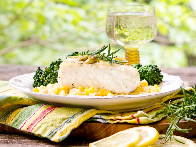 Grilled Halibut with White Wine Sauce by Magnolia Days