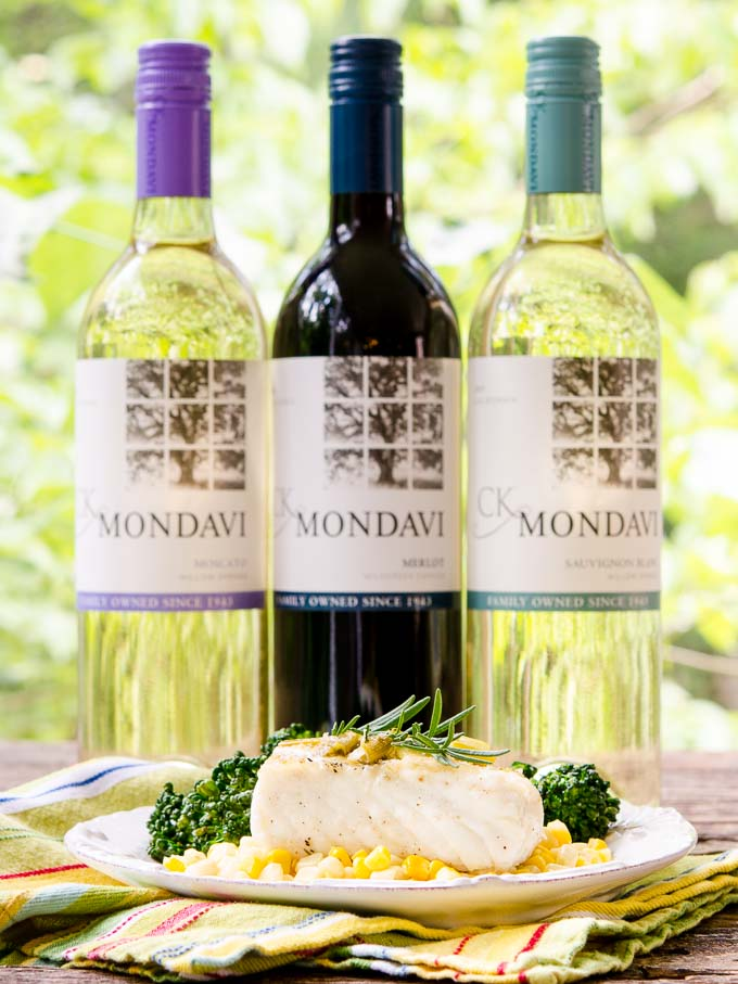 Grilled Halibut with White Wine Sauce with CK Mondavi Wine by Magnolia Days