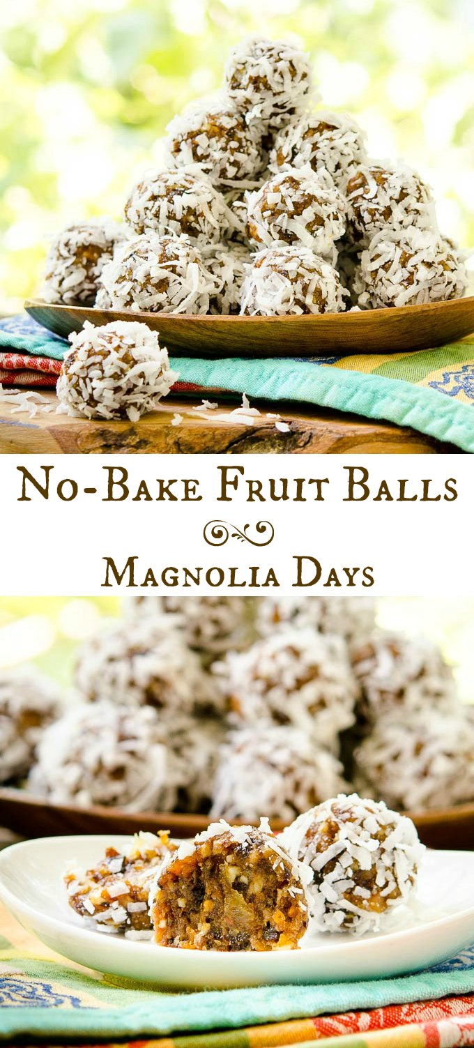 No-Bake Fruit Balls are a chewy snack with natural sweetness from fruit and honey. Almonds are on the inside and coconut on the outside.
