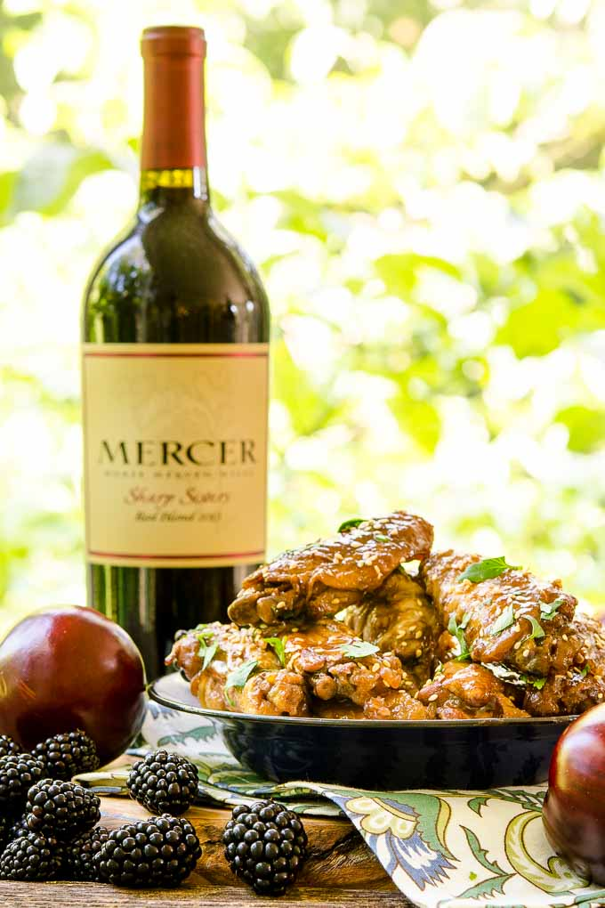 Slow Cooker Chicken Wings with Blackberry Plum Glaze and Mercer Estates Sharp Sisters Red Blend Wine