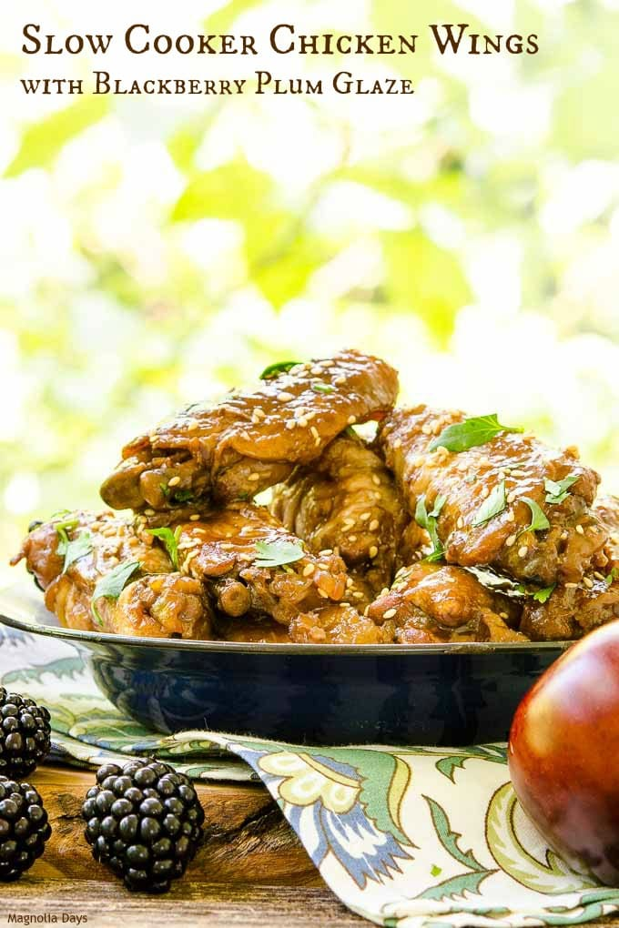 Slow Cooker Chicken Wings with Blackberry Plum Glaze is an easy to make appetizer with wonderful Asian flavors. Make them for your next party!