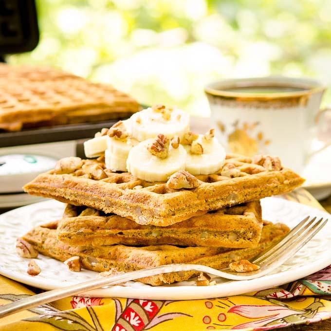 Spiced Banana Nut Waffles by Magnolia Days