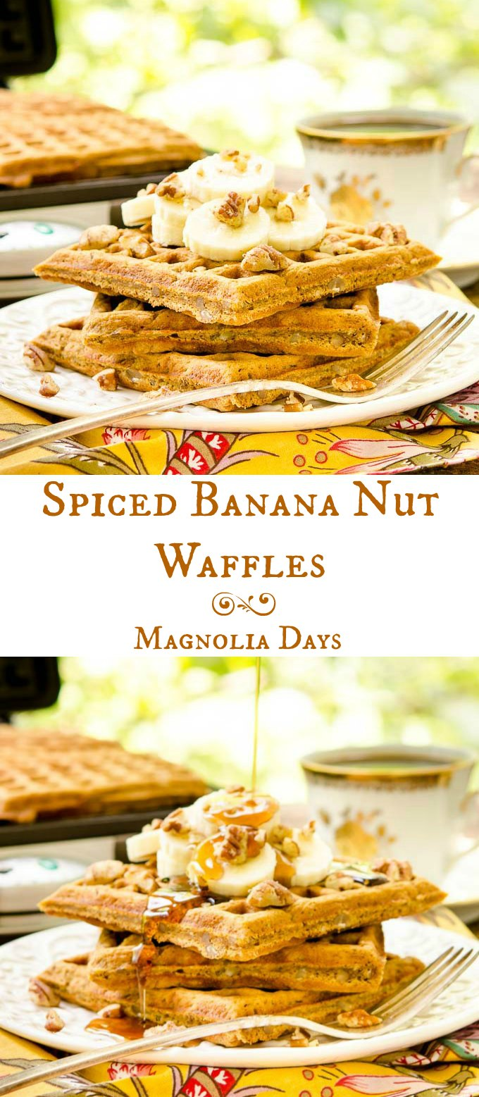 Spiced Banana Nut Waffles are flavored with warm spices, pecans, and sweetened with molasses. Top with bananas, pecans, and syrup for a delightful breakfast.