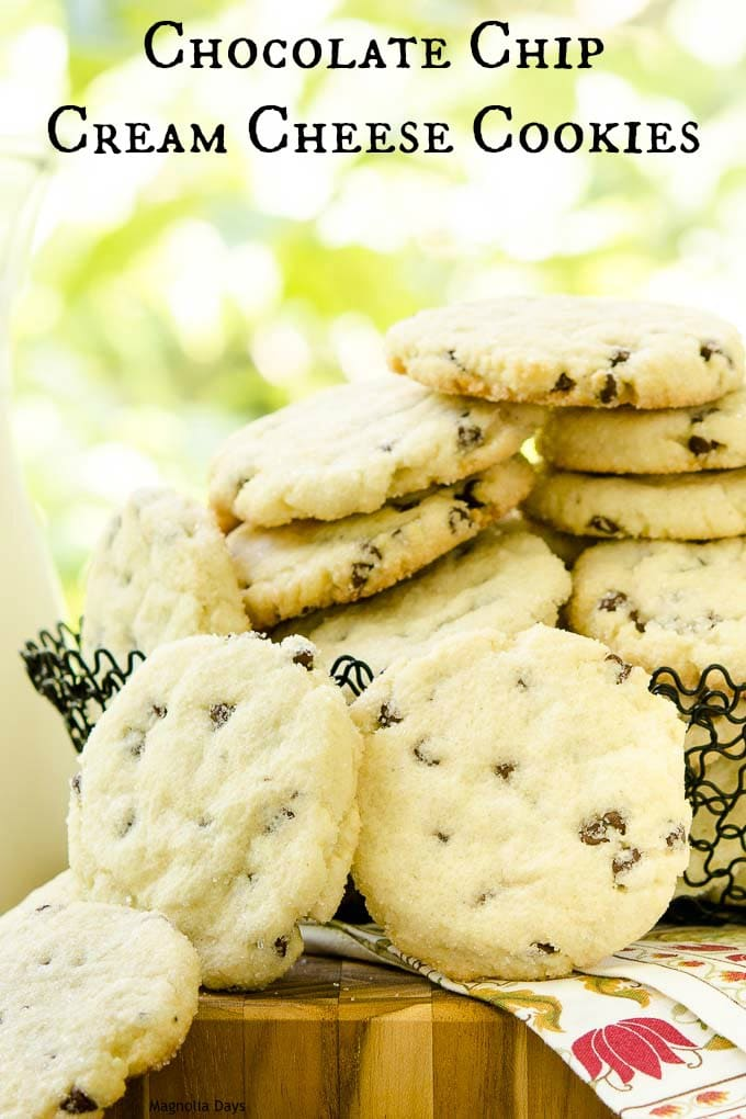 Chocolate Chip Cream Cheese Cookies are crisp on the outside and soft on the inside. A sugar coating gives them an extra touch of sweetness.