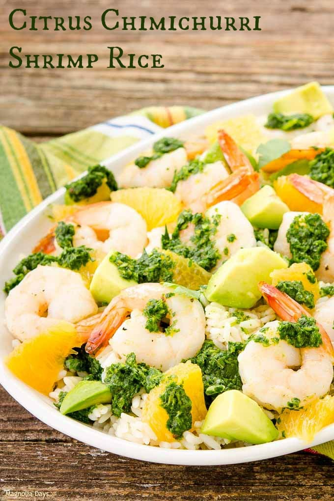 Citrus Chimichurri Shrimp Rice has a burst of freshness in every bite. It's a delightful healthy meal loaded with fresh herbs, citrus, shrimp, and avocado.