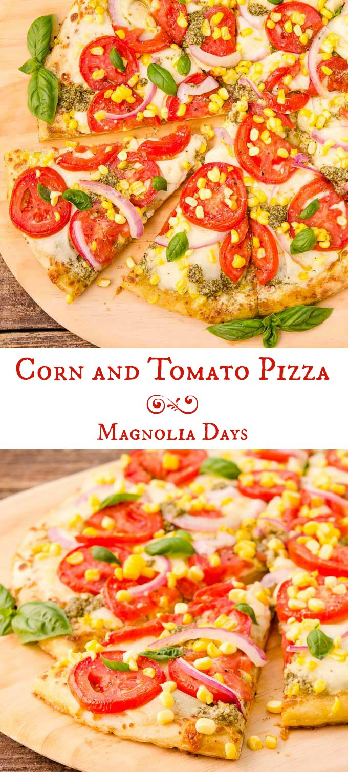 Corn and Tomato Pizza is a tasty meal that's easy to make with pre-made crust and pesto. Use fresh-picked corn and tomatoes to make it spectacular.