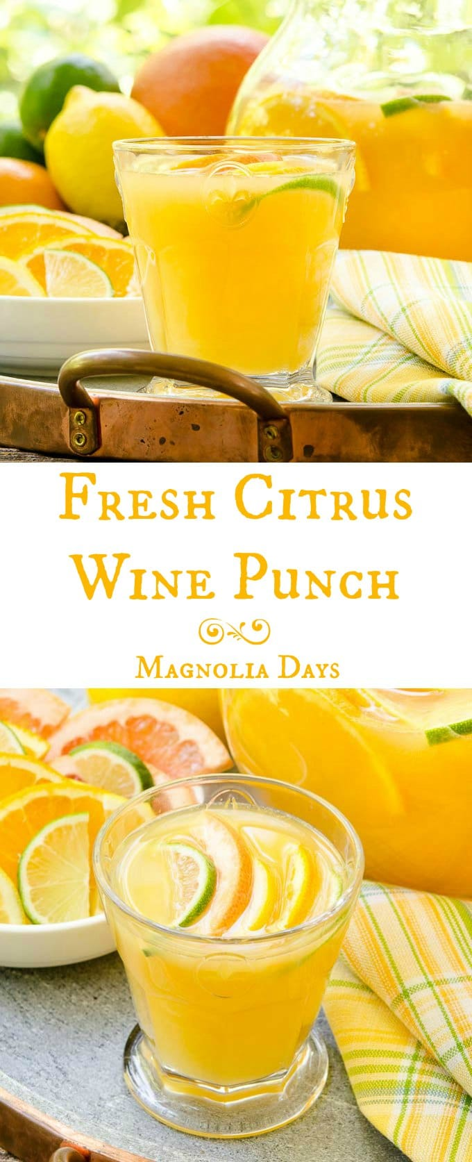 Fresh Citrus Wine Punch is made with fresh orange, grapefruit, lemon, and lime juices. It's great for brunch, showers, potlucks, or any celebration.
