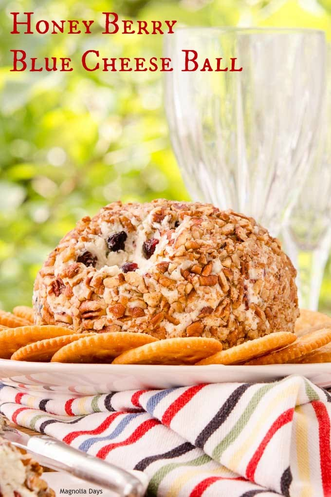 Honey Berry Blue Cheese Ball has all the elements of a cheese tray rolled into a ball. Blue cheese, cream cheese, honey, berries, and nuts are in this tasty appetizer.