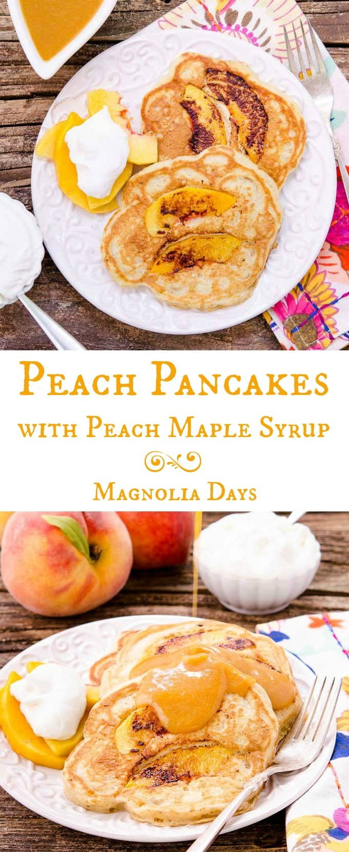 Peach Pancakes with Peach Maple Syrup are made with fresh peaches and a hint of spice. It's a delightful breakfast with summer fruit inside and out.