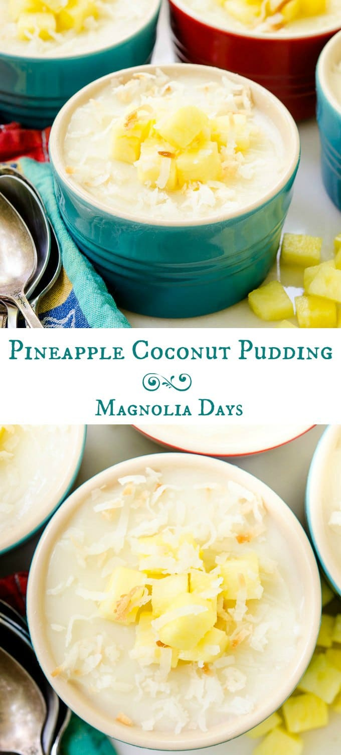 Pineapple Coconut Pudding is a creamy and cool dessert with tropical flavors. It's easy to make with only a few ingredients. It's gluten-free and dairy-free.