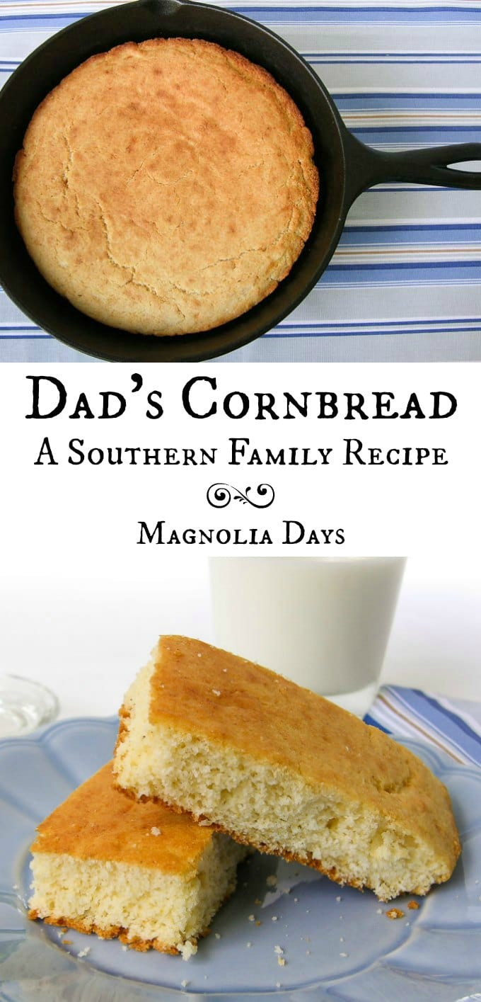 Dad's Cornbread is a southern family recipe handed down through generations. Serve it with chili, pinto beans, greens, and many more meals.