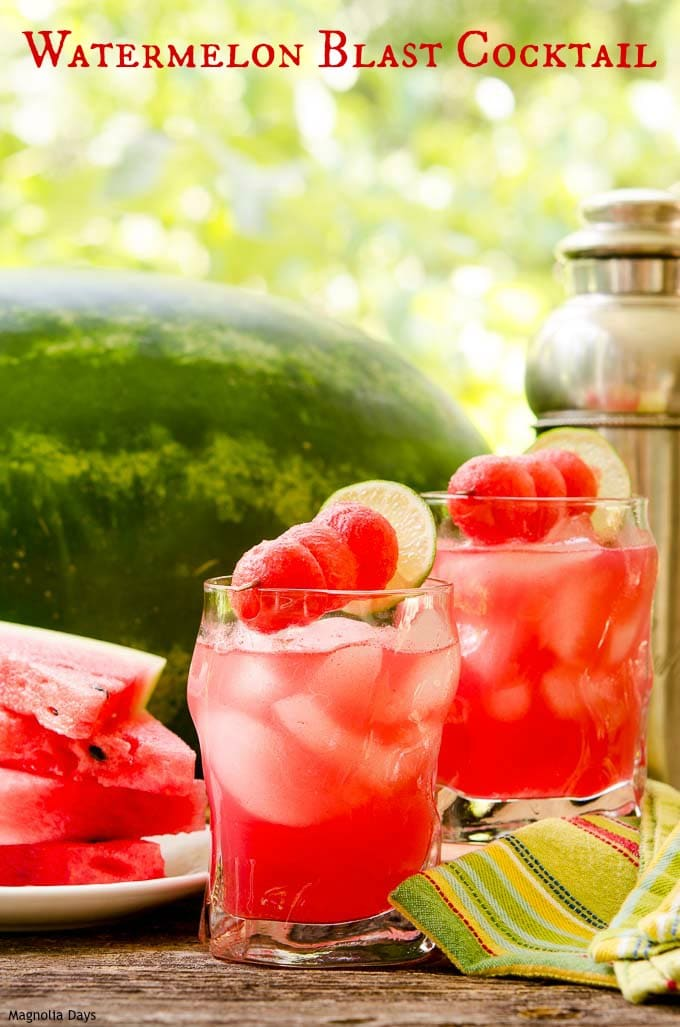 Watermelon Blast Cocktail is a refreshing summer drink with only 3 ingredients. Make it smooth style for easy sipping or chunky for the added fun of chewing (and seed spitting too).