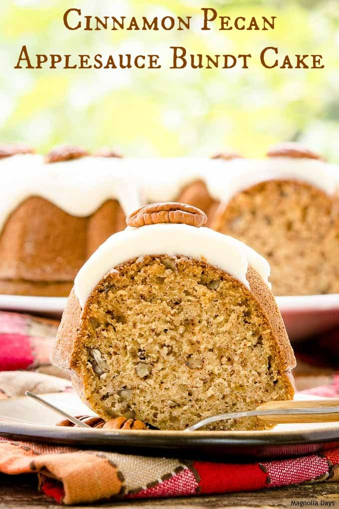 Cinnamon Pecan Applesauce Bundt Cake with Browned Butter Glaze. It's nicely spiced with a nutty crunch and touch of apple flavor.